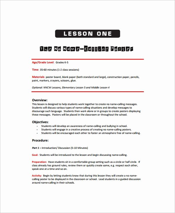 Lesson Plan Template Elementary Inspirational Sample Art Lesson Plan 8 Documents In Pdf Word