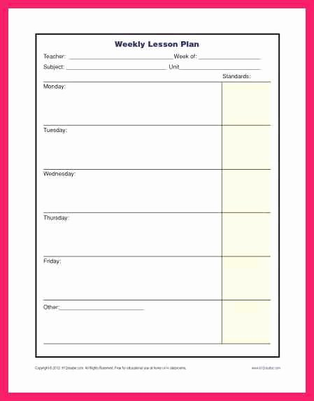 Lesson Plan Template Elementary Inspirational Weekly Lesson Plan Template