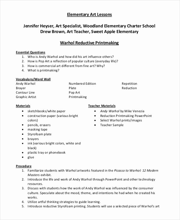 Lesson Plan Template Elementary Luxury 40 Lesson Plan Samples