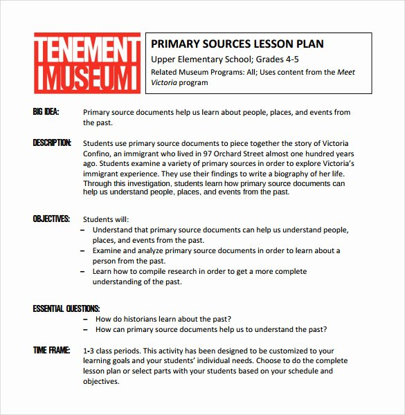 Lesson Plan Template Elementary New 9 Elementary Lesson Plan Samples