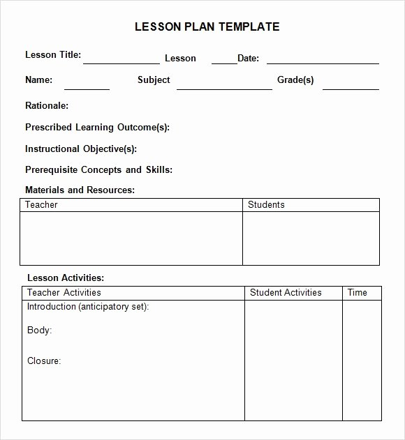 Lesson Plan Template Elementary New Weekly Lesson Plan 8 Free Download for Word Excel Pdf