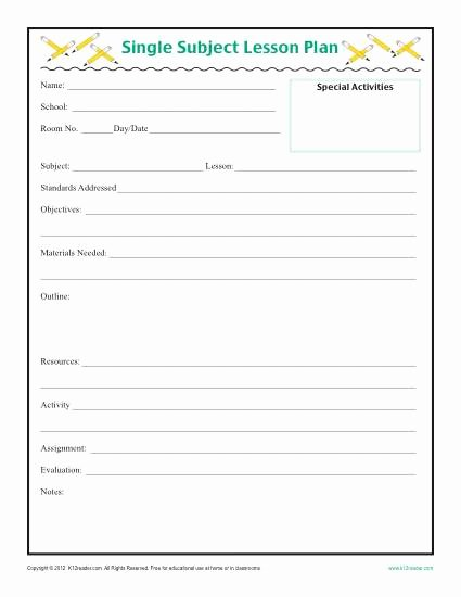 Lesson Plan Template for Elementary Beautiful Daily Single Subject Lesson Plan Template Elementary
