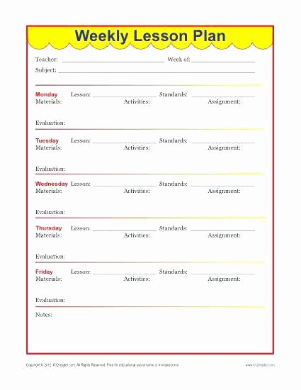 preschool weekly lesson plan sample word free template format for