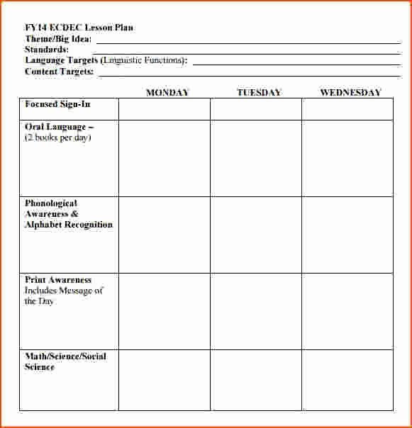 Lesson Plan Template for Elementary Elegant Free Lesson Plan Template for Elementary School Free