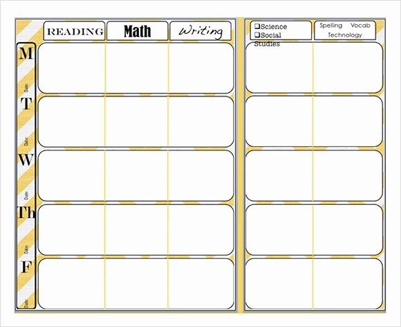 Lesson Plan Template for Elementary Fresh 9 Sample Weekly Lesson Plans