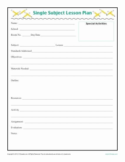 Lesson Plan Template for Elementary Fresh Daily Single Subject Lesson Plan Template Elementary