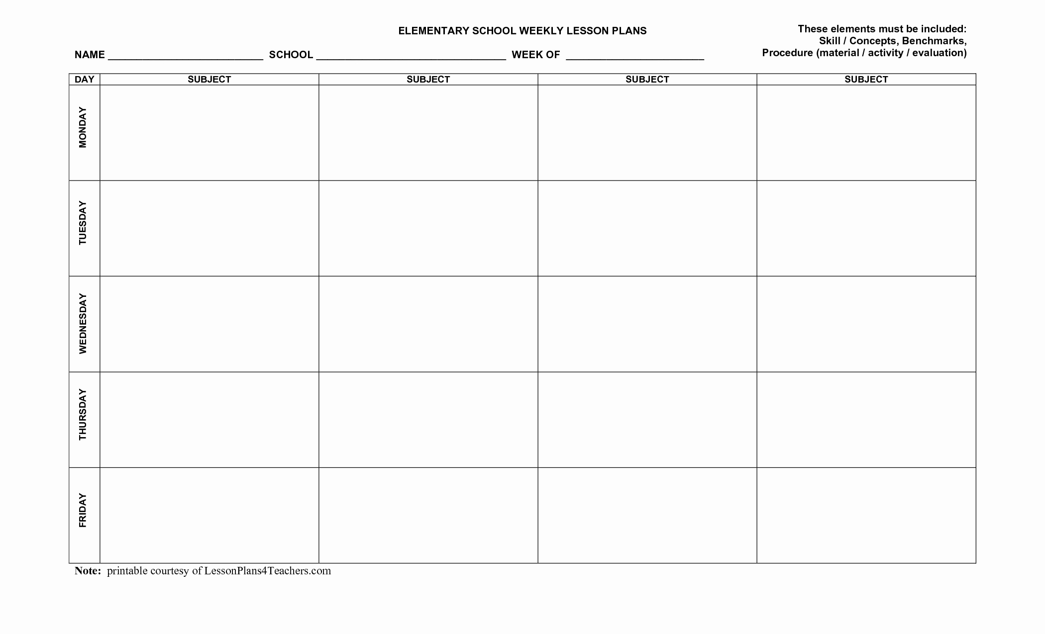 Lesson Plan Template for Elementary New Blank Weekly Lesson Plan Templates Zp1trfbu