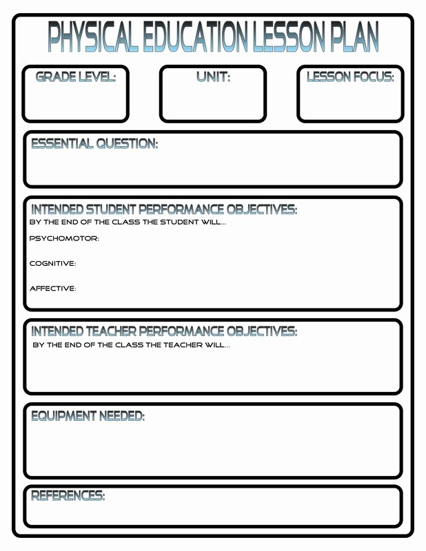 Lesson Plan Template for Elementary Unique Lesson Plans Phys Ed Review
