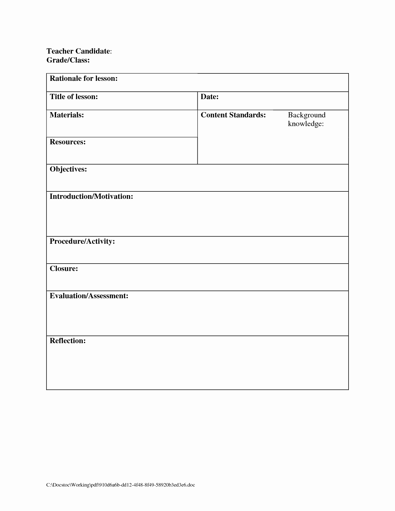Lesson Plan Template for Elementary Unique Printable Blank Lesson Plans form for Counselors