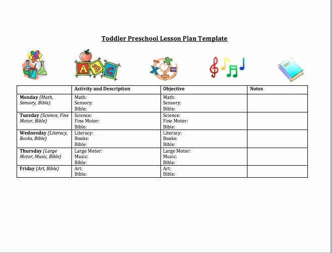 Lesson Plan Template for Preschool Elegant toddler Preschool Lesson Plan Template