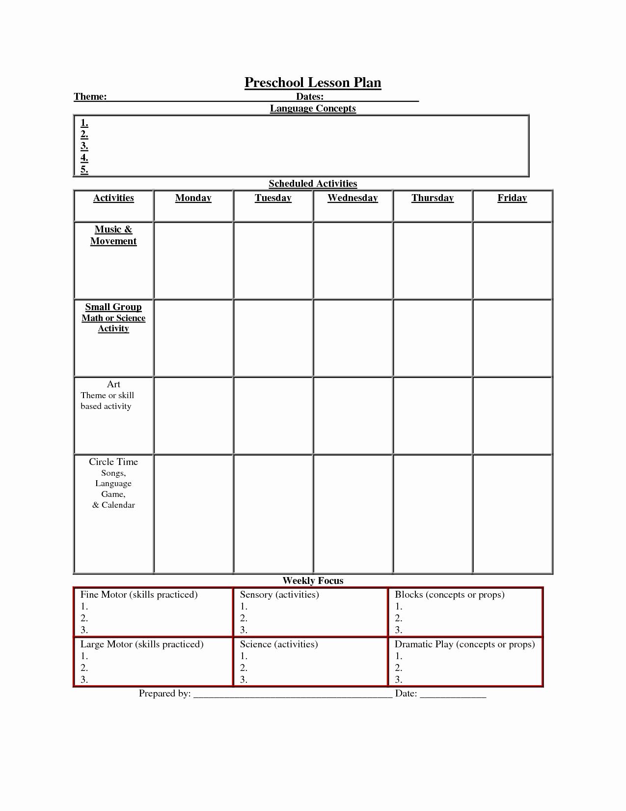Lesson Plan Template for Preschool Fresh Printable Lesson Plan Template Nuttin but Preschool