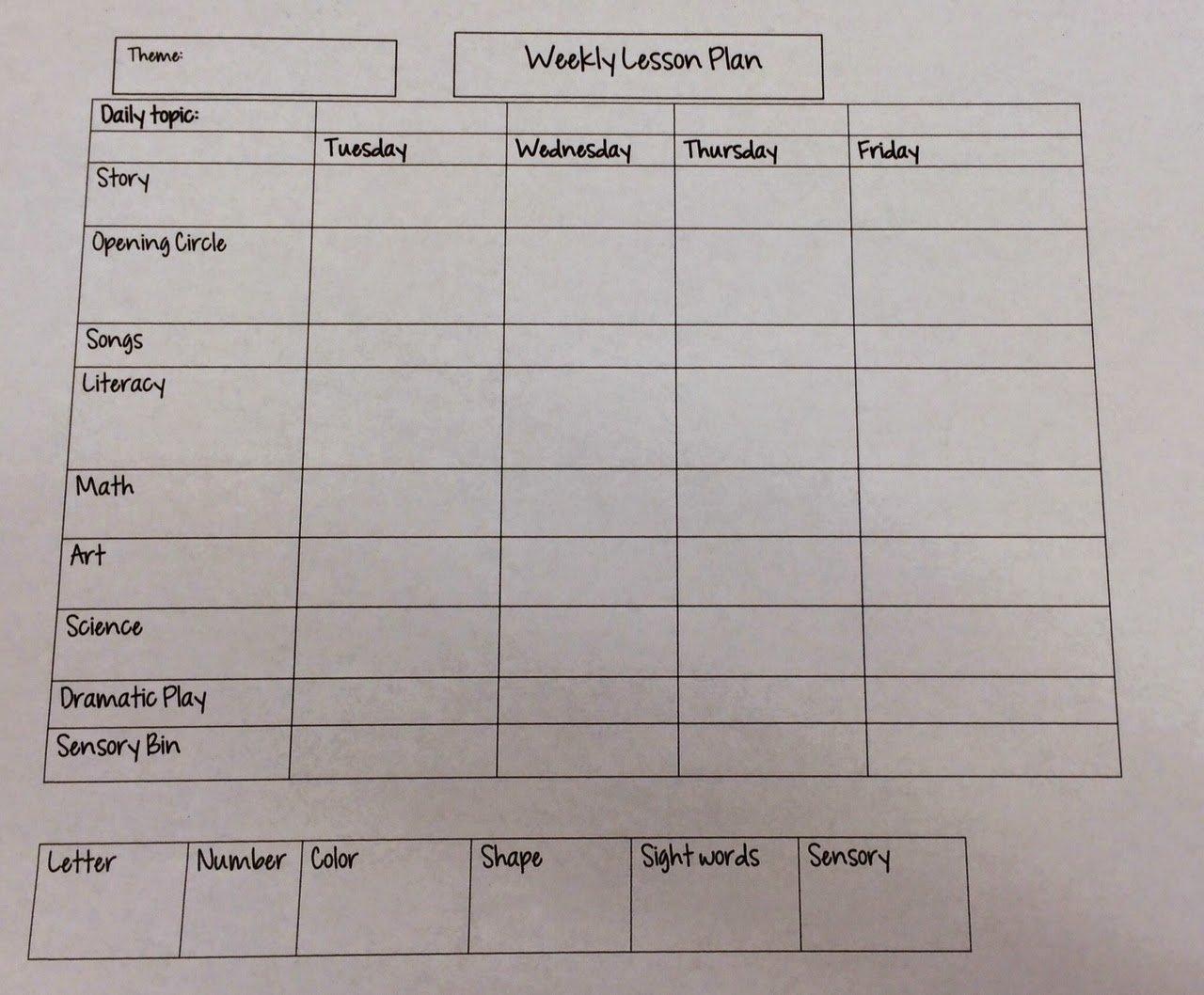 Lesson Plan Template for Preschool Inspirational Miss Nicole S Preschool Weekly Lesson Plan Template