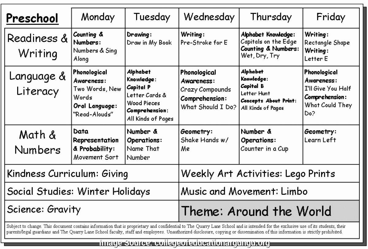 Lesson Plan Template for Preschool Lovely Excellent Preschool Program Template 17 Activity Lesson