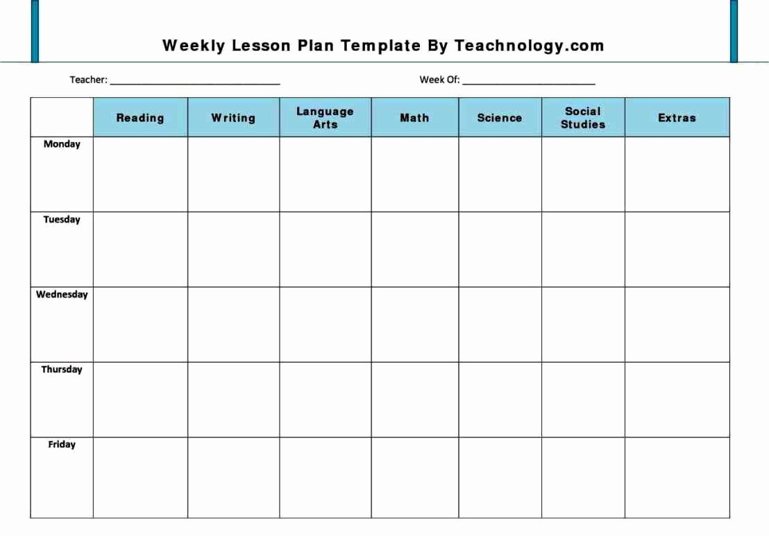 Lesson Plan Template for Preschool Unique Weekly Lesson Plan Template Pdf
