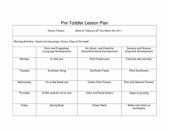 Lesson Plan Template for toddlers Fresh toddler Lesson Plan Template Pdf Google Search