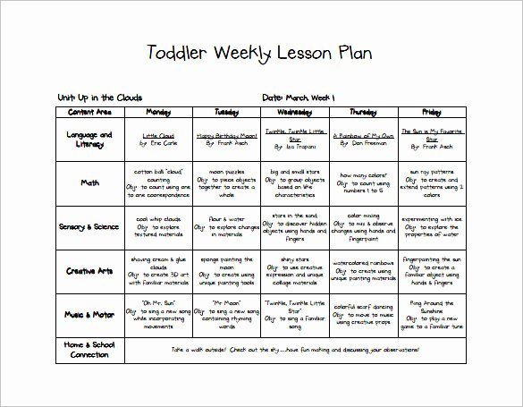 Lesson Plan Template for toddlers Unique toddler Lesson Plan Template 9 Free Pdf Word format