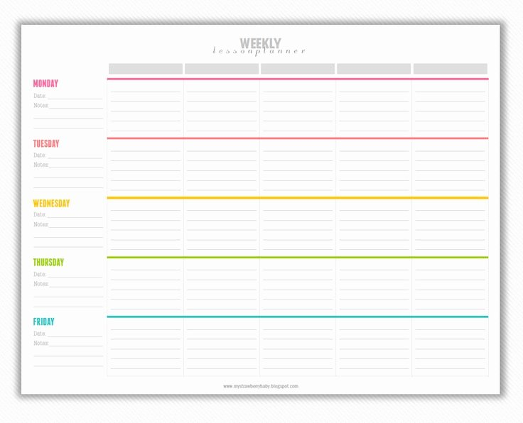 Lesson Plan Template Free Awesome My Strawberry Baby Free Printable Weekly Lesson Plan
