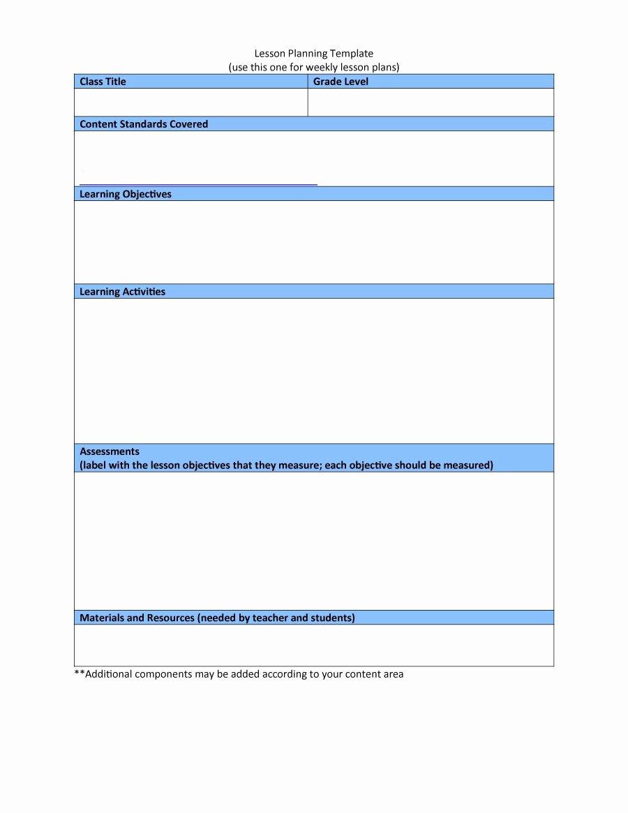 Lesson Plan Template Free New 44 Free Lesson Plan Templates [ Mon Core Preschool Weekly]