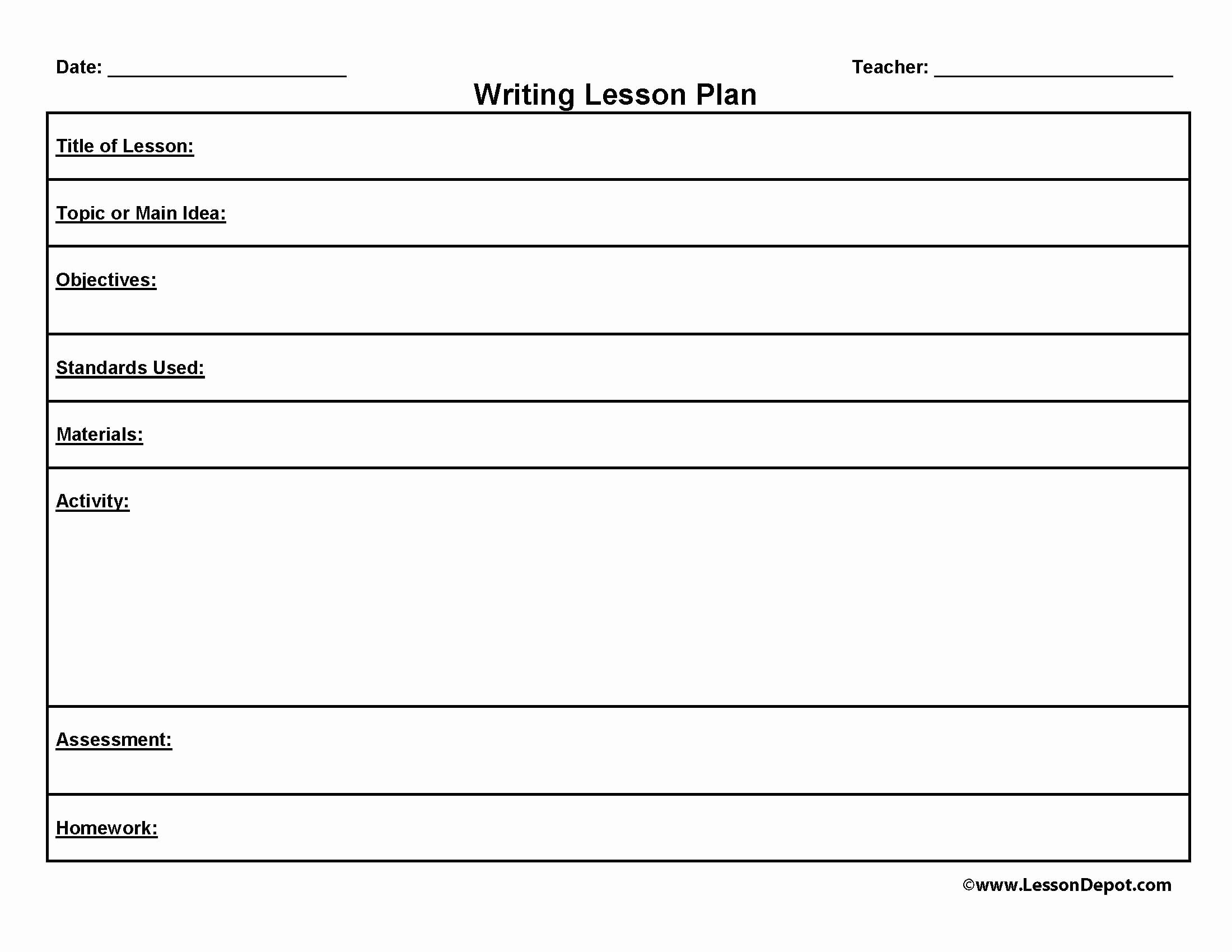 Lesson Plan Template Free New Writing