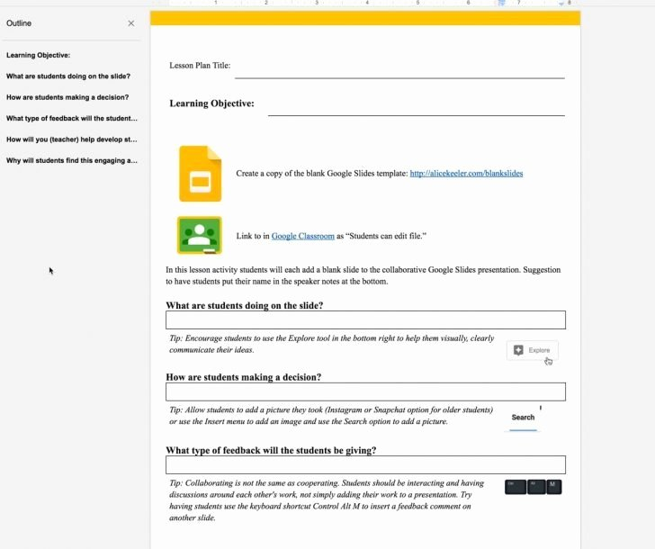 Lesson Plan Template Google Doc Elegant Google Lesson Plan Template – Google Docs Blank Lesson
