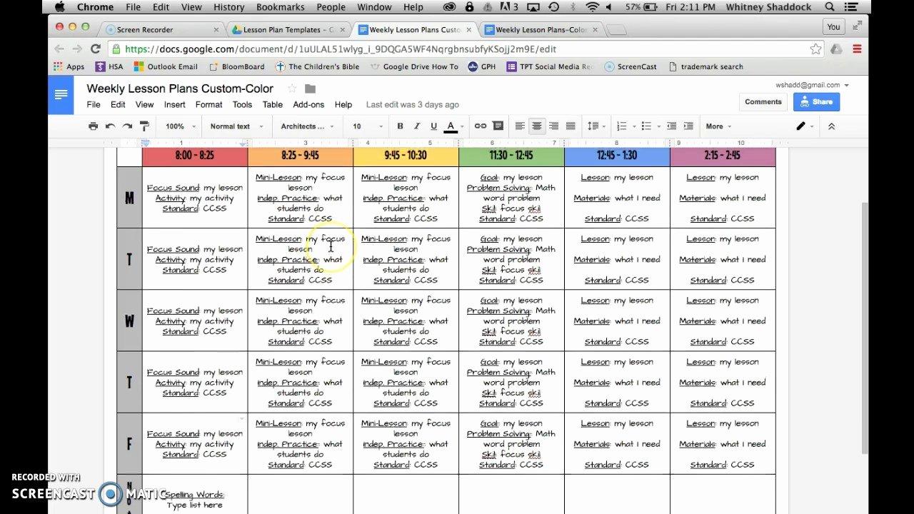 Lesson Plan Template Google Doc New Lesson Plan Templates Google Drive