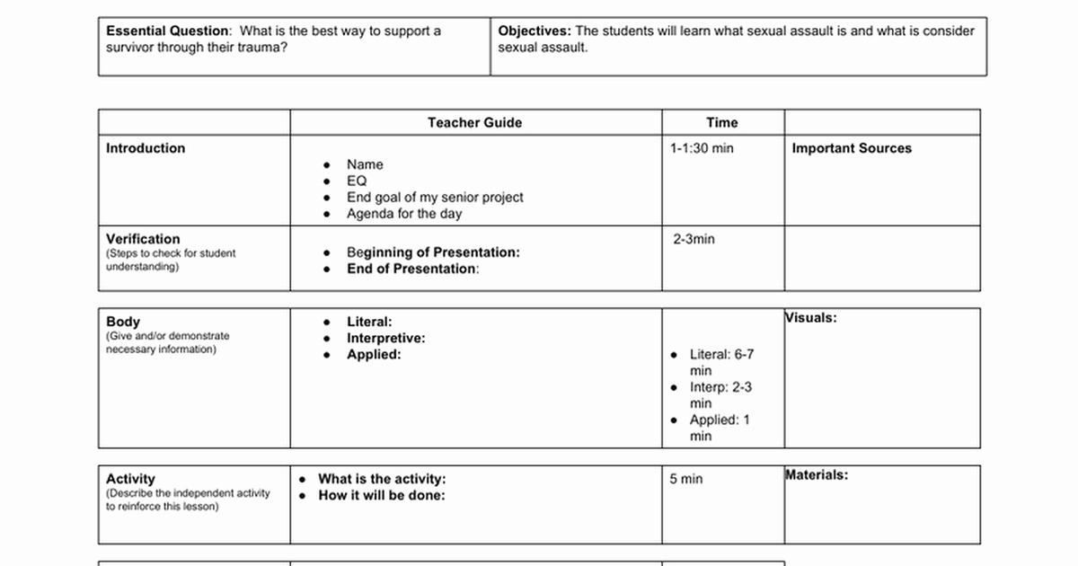 Lesson Plan Template Google Doc Unique 20 Minute Lesson Plan Templatec Google Docs