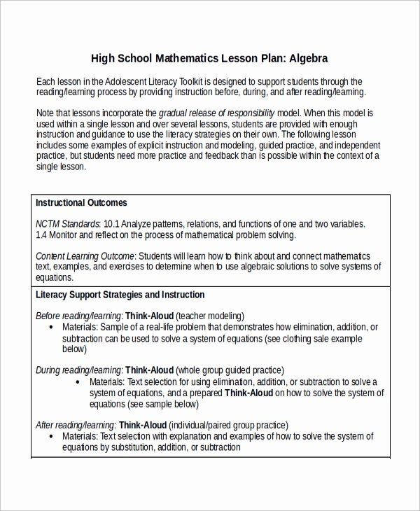 Lesson Plan Template High School Awesome Sample Math Lesson Plan Template 9 Free Documents
