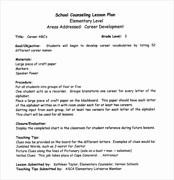Lesson Plan Template High School Awesome Sample Middle School Lesson Plan Template 7 Free