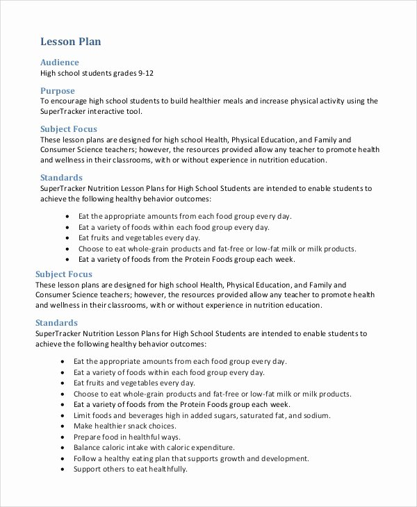 Lesson Plan Template High School Beautiful 9 Lesson Plan Examples