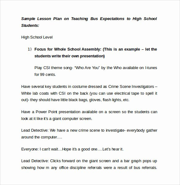 Lesson Plan Template High School Fresh 9 Sample High School Lesson Plans