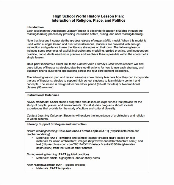 Lesson Plan Template High School Fresh High School Lesson Plan Template 5 Free Word Documents