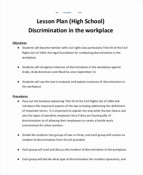 Lesson Plan Template High School Inspirational 40 Lesson Plan Samples