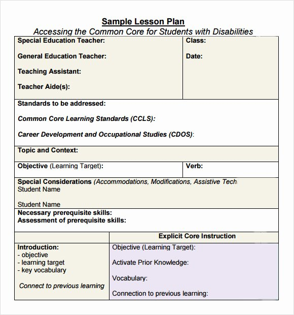 Lesson Plan Template High School Lovely 7 Sample Mon Core Lesson Plan Templates to Download