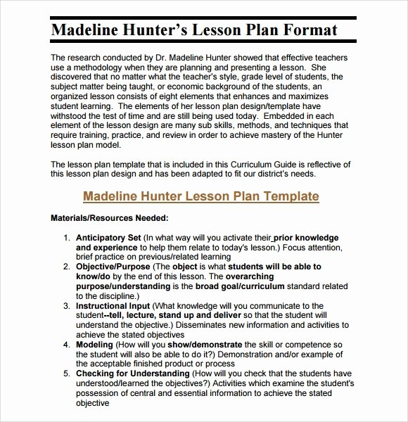 Lesson Plan Template Middle School New Sample Middle School Lesson Plan Template 7 Free