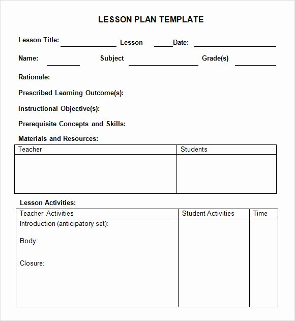 Lesson Plan Template Pdf Elegant 8 Weekly Lesson Plan Samples