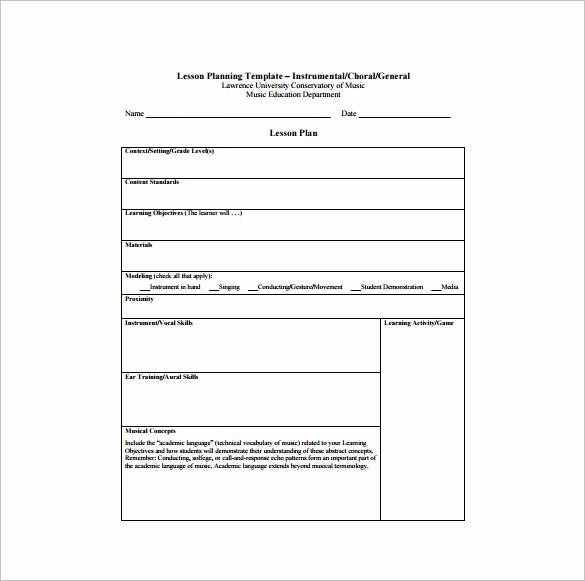 Lesson Plan Template Pdf Luxury Music Lesson Plan Template 7 Free Word Excel Pdf