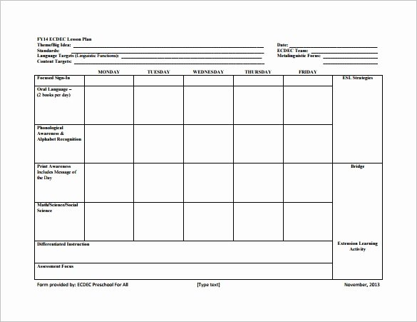 Lesson Plan Template Preschool Awesome 8 Lesson Plan Templates – Free Sample Example format
