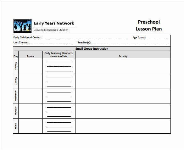 Lesson Plan Template Preschool Awesome Teacher Lesson Plan Template 8 Free Sample Example