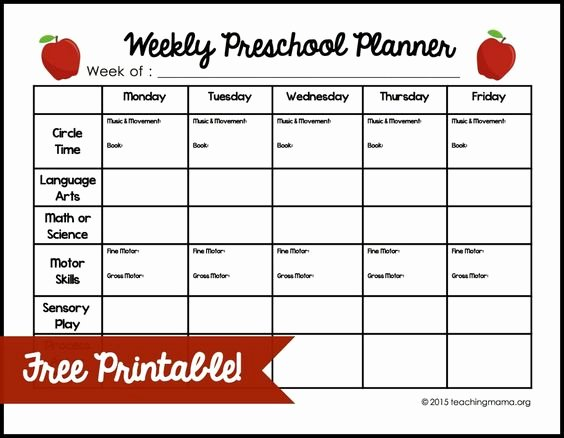 Lesson Plan Template Preschool Awesome Weekly Preschool Planner