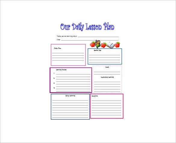 Lesson Plan Template Preschool Fresh Daily Lesson Plan Template 14 Free Pdf Word format