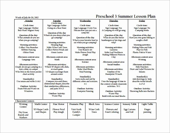 Lesson Plan Template Preschool Luxury Preschool Lesson Plan Template