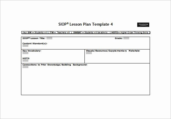 Lesson Plan Template Word Doc Lovely Siop Lesson Plan Template 2 Word Document Siop Lesson Plan