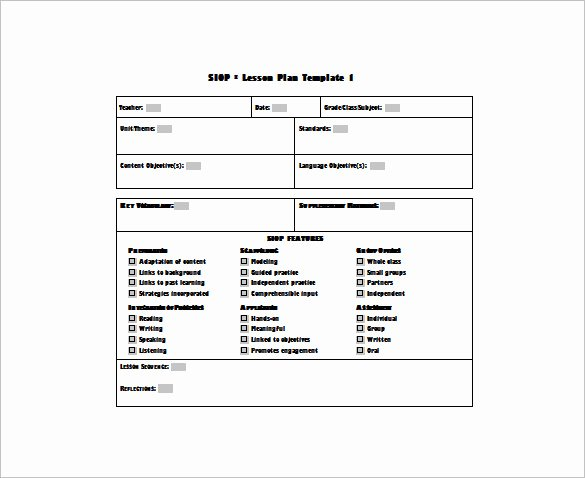 Lesson Plan Template Word Doc Unique 9 Siop Lesson Plan Templates Doc Excel Pdf
