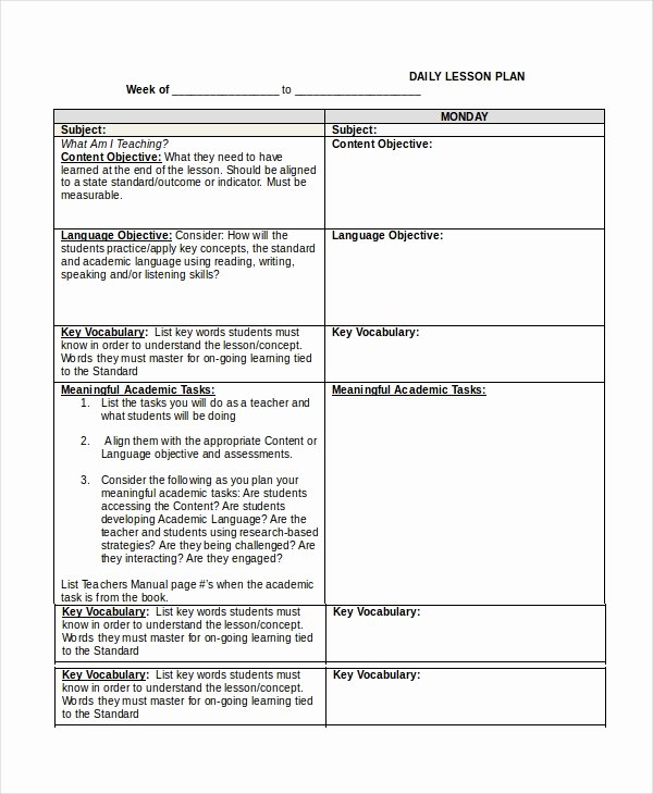 Lesson Plan Template Word Doc Unique Lesson Plan Template 14 Free Word Pdf Documents