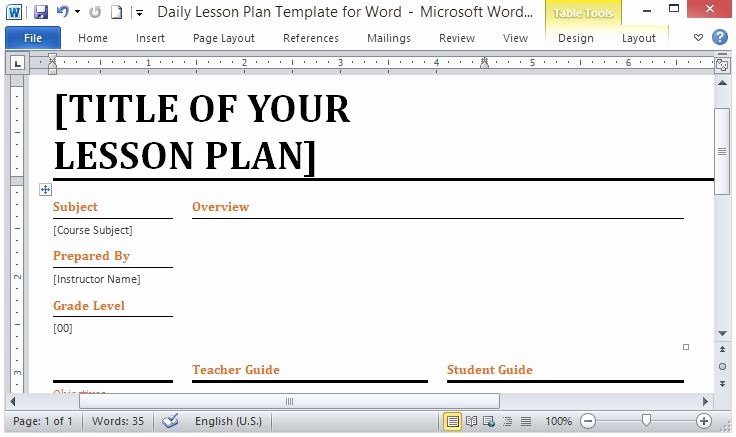 Lesson Plan Template Word Luxury Microsoft Word Template for Making Daily Lesson Plans