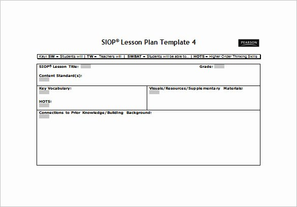 Lesson Plan Template Word Unique 9 Siop Lesson Plan Templates Doc Excel Pdf