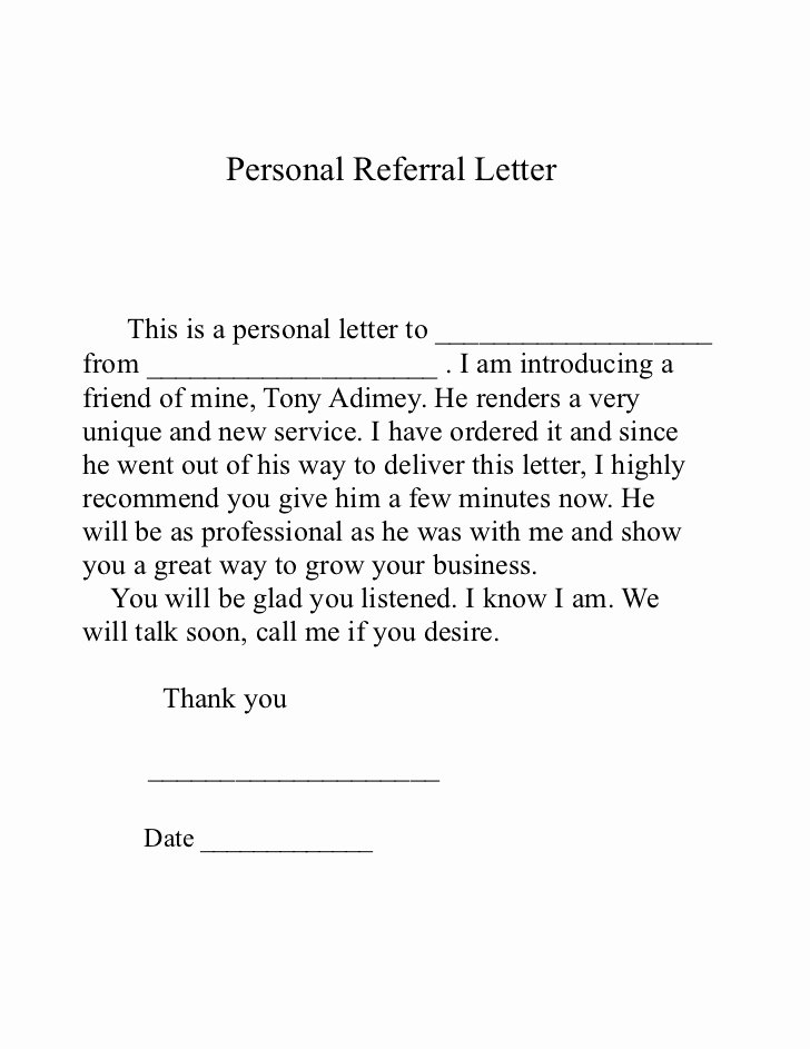 Letter asking for Referrals From Medical Professionals Awesome Referral Letter