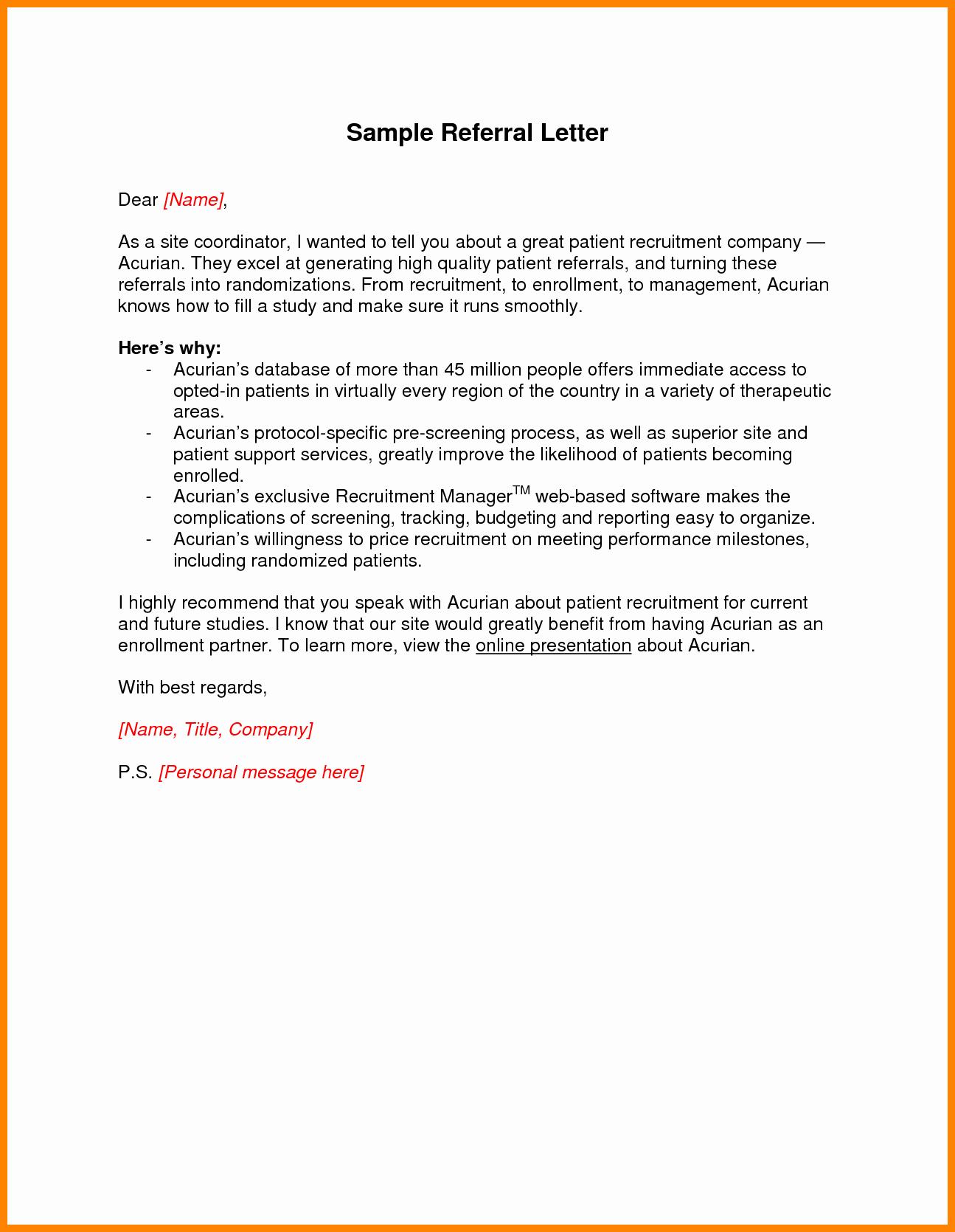 Letter asking for Referrals From Medical Professionals Fresh Sample Medical Referral Letters Cover Letter Samples