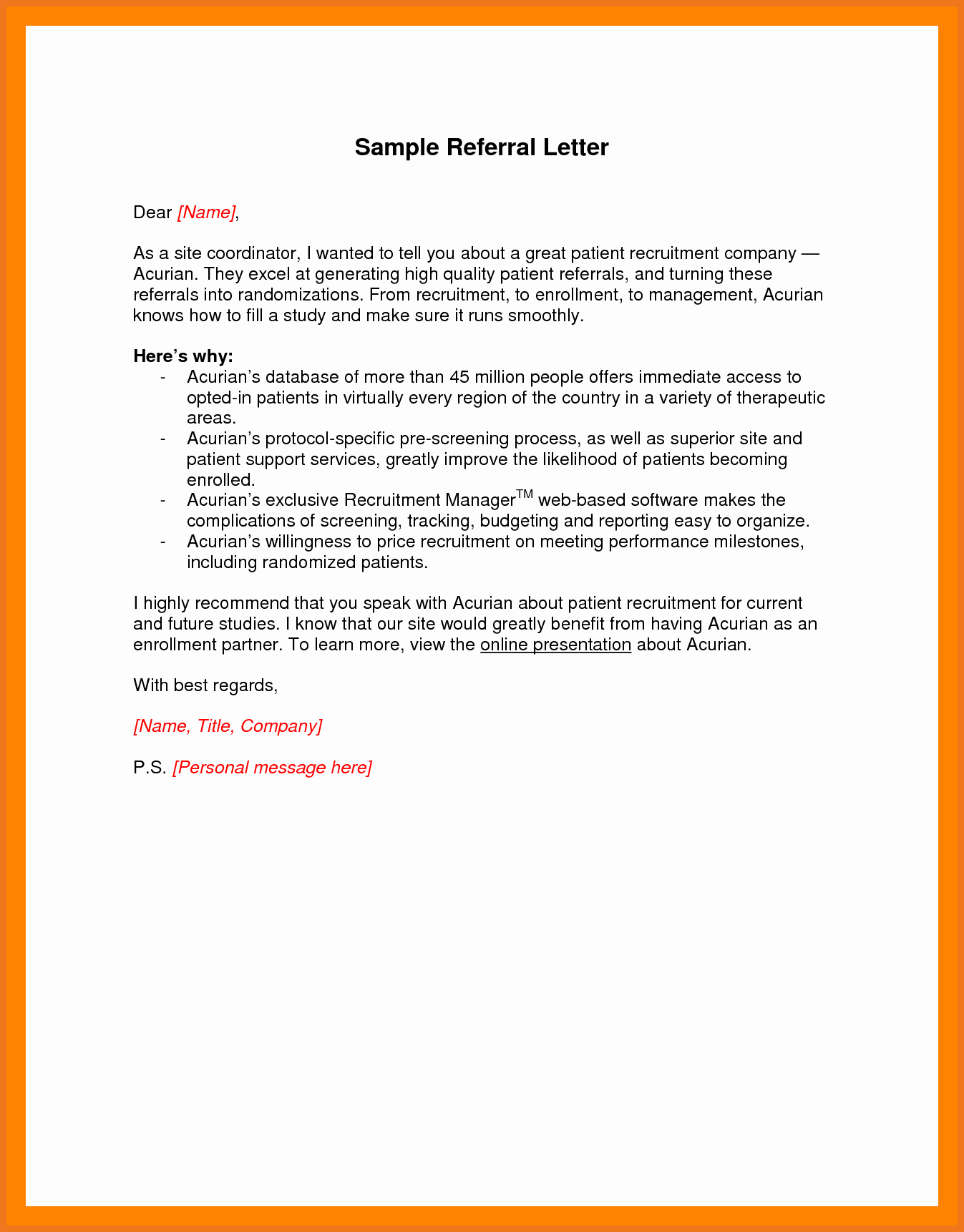 Letter asking for Referrals From Medical Professionals Luxury 7 8 How to Write A Referral Letter