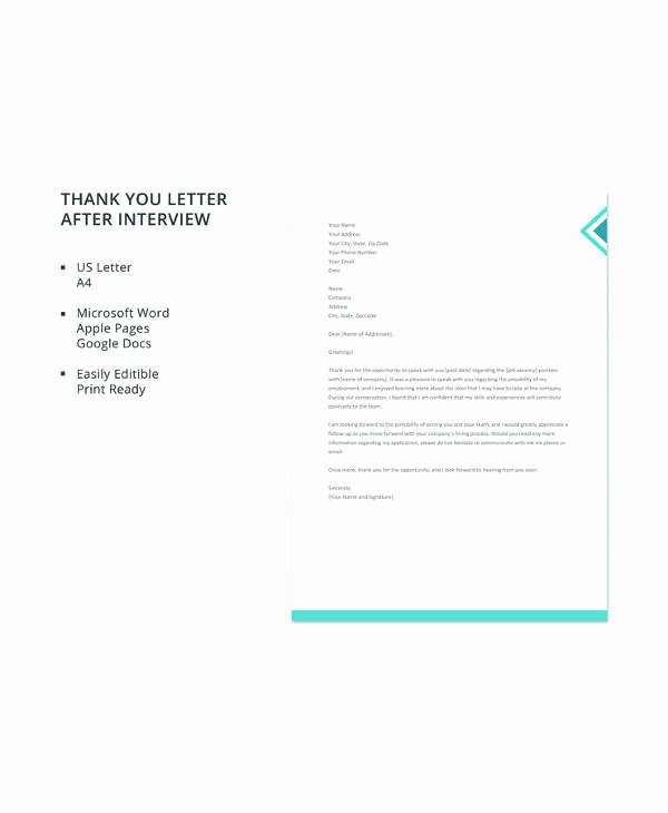 Letter format Google Docs Beautiful 11 Sample Interview Thank You Letters Pdf Word Apple